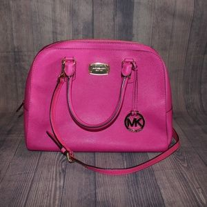 Michael Kors Large Pink Saffiano Dome Satchel